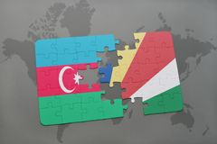 raadsel met de nationale vlag van azerbaijan en Seychellen op een wereldkaart Royalty-vrije Illustratie
