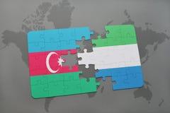 raadsel met de nationale vlag van azerbaijan en Sierra Leone op een wereldkaart Vector Illustratie