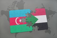 raadsel met de nationale vlag van azerbaijan en de Soedan op een wereldkaart Royalty-vrije Stock Afbeelding