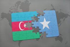 raadsel met de nationale vlag van azerbaijan en Somalië op een wereldkaart Vector Illustratie