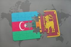 raadsel met de nationale vlag van azerbaijan en Sri Lanka op een wereldkaart Vector Illustratie