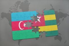 raadsel met de nationale vlag van azerbaijan en Togo op een wereldkaart Vector Illustratie