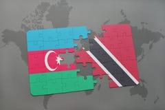 raadsel met de nationale vlag van azerbaijan en Trinidad en Tobago op een wereldkaart Royalty-vrije Illustratie