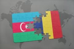 raadsel met de nationale vlag van azerbaijan en Tsjaad op een wereldkaart Royalty-vrije Illustratie