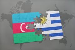 raadsel met de nationale vlag van azerbaijan en Uruguay op een wereldkaart Vector Illustratie