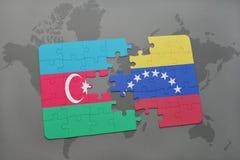 raadsel met de nationale vlag van azerbaijan en Venezuela op een wereldkaart Vector Illustratie