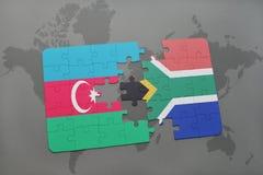 raadsel met de nationale vlag van azerbaijan en Zuid-Afrika op een wereldkaart Royalty-vrije Stock Fotografie