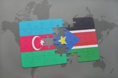 raadsel met de nationale vlag van azerbaijan en Zuid-Soedan op een wereldkaart Royalty-vrije Illustratie