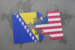 raadsel met de nationale vlag van Bosnië-Herzegovina en Liberia op een wereldkaart Stock Afbeelding