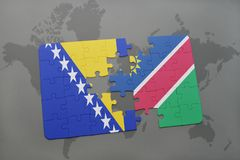 raadsel met de nationale vlag van Bosnië-Herzegovina en Namibië op een wereldkaart Stock Afbeeldingen