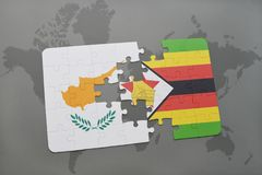 raadsel met de nationale vlag van Cyprus en Zimbabwe op een wereldkaart Royalty-vrije Stock Foto's