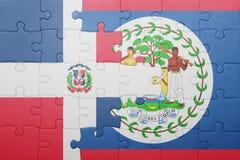 Raadsel met de nationale vlag van de Dominicaanse republiek van Belize en Royalty-vrije Stock Foto's