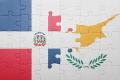 raadsel met de nationale vlag van de Dominicaanse republiek van Cyprus en Royalty-vrije Stock Foto