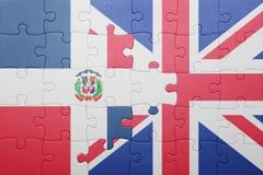 Raadsel met de nationale vlag van de Dominicaanse republiek van Groot-Brittannië en Royalty-vrije Stock Fotografie