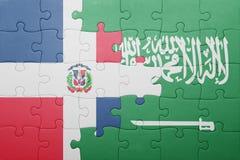 Raadsel met de nationale vlag van de Dominicaanse republiek van Saudi-Arabië en Royalty-vrije Stock Afbeeldingen