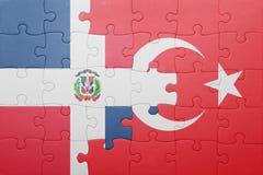 Raadsel met de nationale vlag van de Dominicaanse republiek van Turkije en Royalty-vrije Stock Afbeelding