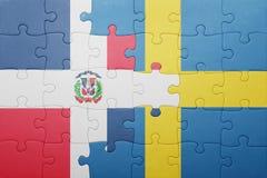 raadsel met de nationale vlag van de Dominicaanse republiek van Zweden en Stock Afbeelding