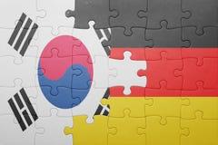 Raadsel met de nationale vlag van Duitsland en Zuid-Korea Stock Afbeeldingen