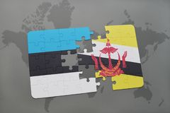 raadsel met de nationale vlag van Estland en Brunei op een wereldkaart Royalty-vrije Stock Afbeelding