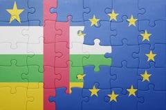 raadsel met de nationale vlag van de Europese Unie van de Centraalafrikaanse Republiek en Royalty-vrije Stock Afbeeldingen