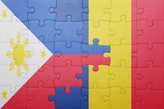 raadsel met de nationale vlag van Filippijnen en Roemenië Royalty-vrije Stock Foto's