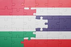Raadsel met de nationale vlag van Hongarije en Thailand royalty-vrije stock fotografie