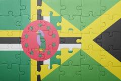 Raadsel met de nationale vlag van Jamaïca en dominica stock afbeeldingen