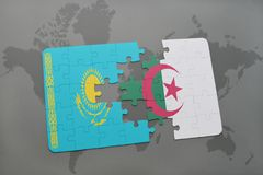 raadsel met de nationale vlag van Kazachstan en Algerije op een wereldkaart Royalty-vrije Stock Afbeeldingen