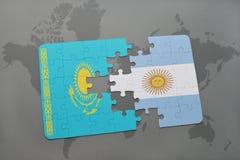 raadsel met de nationale vlag van Kazachstan en Argentinië op een wereldkaart Royalty-vrije Stock Foto's