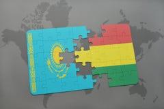 raadsel met de nationale vlag van Kazachstan en Bolivië op een wereldkaart Stock Afbeelding