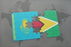 raadsel met de nationale vlag van Kazachstan en Guyana op een wereldkaart Royalty-vrije Stock Afbeelding