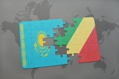 raadsel met de nationale vlag van Kazachstan en republiek van de Kongo op een wereldkaart Royalty-vrije Stock Foto's