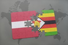 raadsel met de nationale vlag van Letland en Zimbabwe op een wereldkaart Stock Afbeelding
