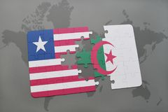 raadsel met de nationale vlag van Liberia en Algerije op een wereldkaart Stock Foto's