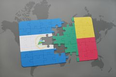 raadsel met de nationale vlag van Nicaragua en benin op een wereldkaart Stock Afbeelding