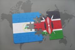 raadsel met de nationale vlag van Nicaragua en Kenia op een wereldkaart Stock Afbeeldingen