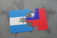 raadsel met de nationale vlag van Nicaragua en Taiwan op een wereldkaart Stock Fotografie
