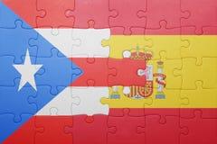 Raadsel met de nationale vlag van Spanje en Puerto Rico stock foto's