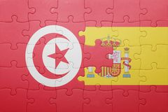 raadsel met de nationale vlag van Spanje en Tunesië Royalty-vrije Stock Afbeeldingen