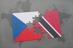 raadsel met de nationale vlag van Tsjechische republiek en Trinidad en Tobago op een wereldkaart Royalty-vrije Stock Afbeelding