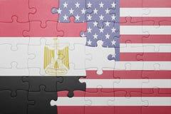 Raadsel met de nationale vlag van de Verenigde Staten van Amerika en Egypte Stock Foto's