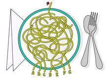 Raadsel van het het labyrintspel van het spaghettilabyrint het vector met oplossing in verborgen laag royalty-vrije stock afbeelding