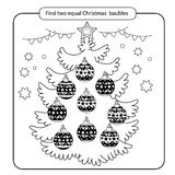 Raadsel voor jonge geitjes Het spel van de jong geitjemening Geassorteerde dingen om de gelijke te vinden geplaatste Kerstmisball Stock Fotografie