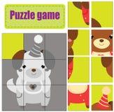 Raadsel voor peuters De gelijkestukken en voltooien het beeld Activiteit voor preschooljarenjonge geitjes Dierenthema Leuk Puppy stock illustratie