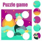Raadsel voor peuters De gelijkestukken en voltooien het beeld Onderwijsspel voor preschooljarenjonge geitjes met meermin royalty-vrije illustratie