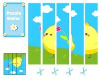 Raadsel voor peuters Voltooi het beeld met leuke Pasen-kip Onderwijsspel voor kinderen vector illustratie