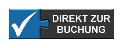 Raadselknoop met tikpictogram die tonen: Direct Duits boek vector illustratie