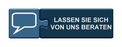Raadselknoop: Neem juridisch advies het Duits stock illustratie