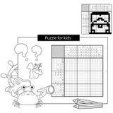 Raadselspel voor schoolkinderen Het Zwart-witte Japanse kruiswoordraadsel van de schatborst met antwoord Kleurend boek voor jonge royalty-vrije illustratie