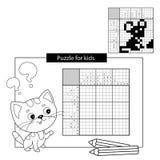 Raadselspel voor schoolkinderen Muis Zwart-wit Japans kruiswoordraadsel met antwoord vector illustratie